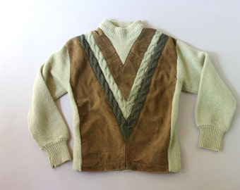1960s Wool Sweater / Vintage 60s Sage and Suede Wool Sweater / 1960s Brent Cable Knit Sweater