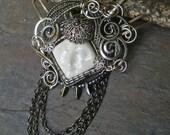 Gothic Steampunk Mini Queen Goddess Square Pin Brooch Pendant