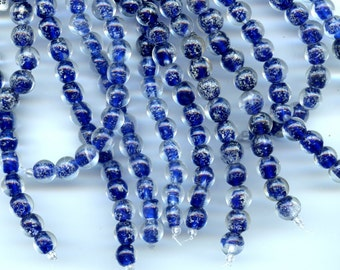 GLOW in the DARK  Cobalt Blue Round Glass Beads 10mm  15 to a strand