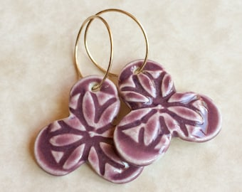 Plum Blossom Porcelain Earrings