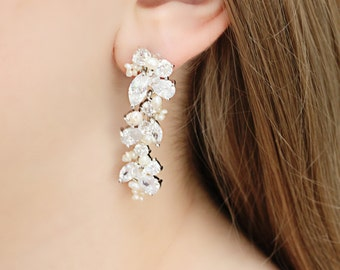 Rhinestone, Freshwater Pearl and Swarovski Crystal Bridal Earrings