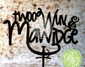 Twoo Wuv & Mawidge Wedding Cake Topper, Geekery Caketopper, Renaissance Wedding Decor, Anniversary Cake, DIYBride Style *Original Design*