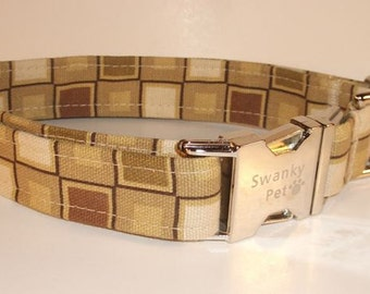 Chocolate Squares - Chocolate Brown Dog Collar by Swanky Pet!