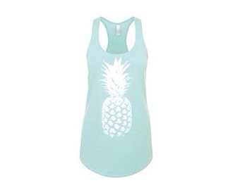 Mint Pineapple Racerback Women's Summer Tank Top