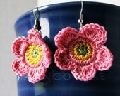 Pink Yellow & Green Tropical Rose Dangle Earrings - Island Girl Collection