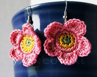 Pink Yellow & Green Tropical Rose Dangle Earrings - Island Girl Collection