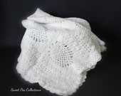 White Baby Blanket Crochet Baby Afghan Christening Gift Baptism Gift Baby Dedication  Newborn Gift baby Shower READY TO SHIP