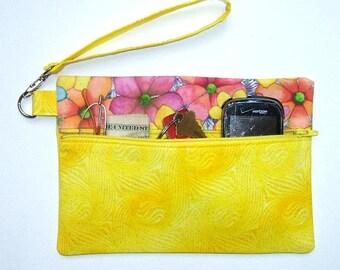 Yellow Sparkle Wristlet, Floral Front Zip Purse, Peach Pink Wallet, Camera and Phone Holder, Yellow Glitter Makeup Bag, Gadget Bag, Clutch