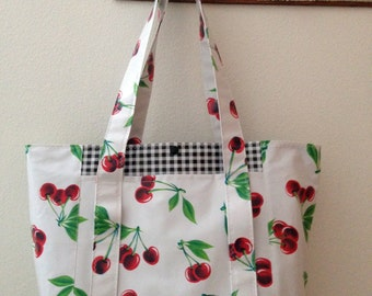 Beth's Big Red Cherries Multi Market Oilcloth Tote Bag