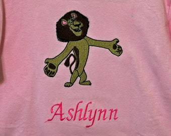 Alex the lion from Madagascar with name monogram available
