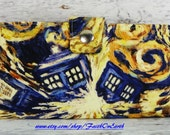 Handmade dr who Long Wallet  BiFold Clutch -Vegan Wallet - Doctor Who's Van Gogh painted Exploding Tardis