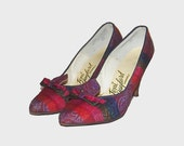 1950s shoes / vintage 50s  / 8.5 B / Purple Plaid Print Bow Heels
