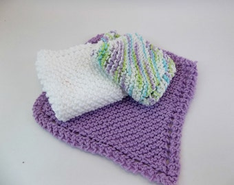 Knit Cotton Cloths Lavender Variegated and White Cotton Wash Dish Cloths Set of 3