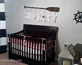 """58"""" 7-Peg Stained or Painted Paddle Name Rack with Seven 9"""" Decorative Letters and Rope in Many Colors / Nautical Nursery Decor/Canoe Paddle"""