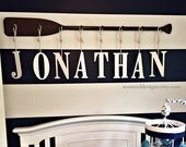 """58"""" 8-Peg Stained or Painted Paddle Name Rack with Eight 9"""" Decorative Letters and Rope in Many Colors / Nautical Nursery Decor/Canoe Paddle"""