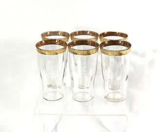 1920s Set of Gold Drinking Glasses, Fine Dining, Home Bar Set