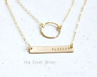 Personalized Bar Necklace, Personlaized Necklace, Dainty Layered Necklace set of 2, Initial Necklace, Personalized Jewelry