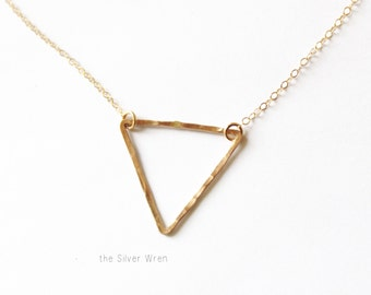 Gold triangle Necklace, Hammered Gold Triangle Necklace, Floating Triangle Necklace, All 14kt Gold Filled, Geometric Necklace, Gold Layering