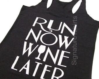 RUN Now WINE Later Tank Top Black, Workout Clothing, running Tanks, Gym Tank, marathon, Runners Tank Top, Workout Shirt, Fitness Tank top