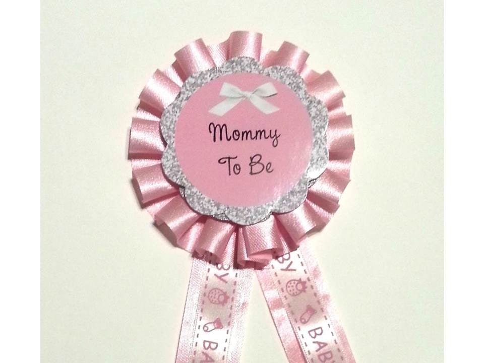 baby girl shower mommy mom to be corsage pin pink glitter plus