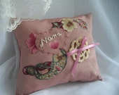 Pink Wedding Special Occasion Keepsake Accent Pillow For Nana One Of A Kind Hand Embroidered ready to ship by hancraftusa on Etsy