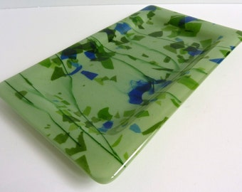 Fused Glass Platter in Celadon Green and Blue
