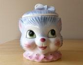 Vintage Scarce Anthropomorphic Circus Cat Clown Cookie Jar - Glazed Ceramic - Made in Japan