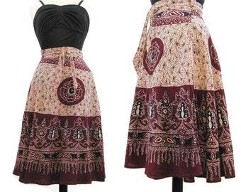 Vintage 60s 70s Skirt Hippie Wrap Indian Cotton Boho Batik Red Blue M