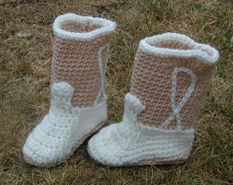 Crocheted Cowboy Cowgirl Boot Booties Tan/White Size 3  Baby Shoe