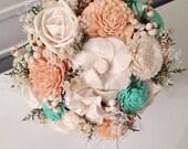 Peach, Mint Wedding Bouquet made with sola flowers - choose your colors - Lace - Custom - Alternative bridalbouquet - bridesmaids bouquet