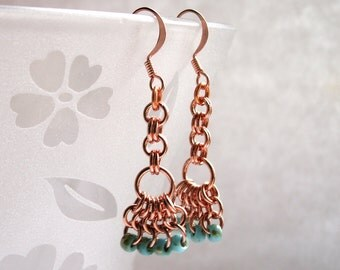 Copper Chainmaille Mermaid Earrings with Turquoise Glass Beads