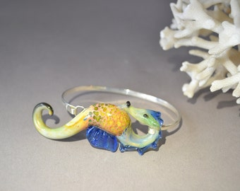 Sea Horse Bracelet with Silver cuff braclet
