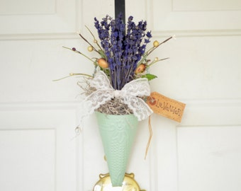 French Lavender  Wall Pocket Cone - Spring Summer front door decor - Wall decor - Green Wall cone