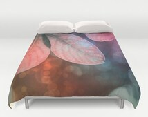 Leaves Duvet Cover, Forest Bedding, Tree Bedding, Colorful design, Nature Comforter Cover, Pink, Teal, Orange, Rusty, Twin, Full Queen,King