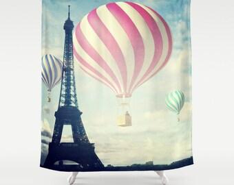 Hot Air Balloons Shower Curtain, Bathroom, Paris Home Decor, Eiffel Tower Shower Curtain, Whimsical Shower Curtain, City Shower Curtain