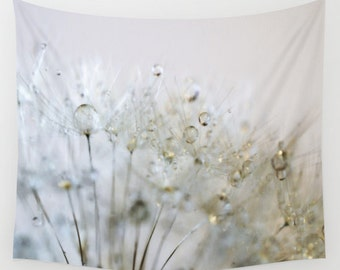 Dandelion Wall Tapestry, Gold Wall Art, Silver Large Tapestry, Raindrops Fine Art Photography, Nature, Outdoor, Garden, Whimsical, Dew,Water