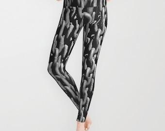 Black Chain Leggings, Chain Yoga Pants, Halloween, Grey Yoga Leggings, Women, Teen Active Wear, Running Pants, Jogging Pants, Surf Goth