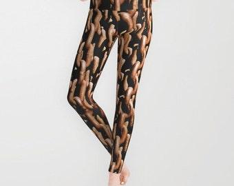 Rusty Chain Leggings, Chain Yoga Pants, Fashion, Brown Yoga Leggings, Halloween, Teen Active Wear, Running Pants, Jogging Pants, Surf Goth
