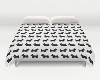 Scotty Dog Duvet Cover, Scottie Dog Duvet Cover, Made to Order, Black White Bedding, Decorative Bedding, Unique, Comforter Cover, Red Bow