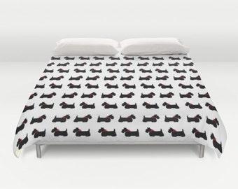 Scotty Dog Duvet Cover, Scottie Dog Duvet Cover, Made to Order, Black White Bedding, Decorative Bedding, Unique, Comforter Cover, Red Bow