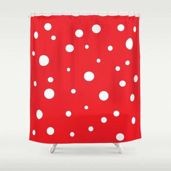 Red White Polka Dots Shower Curtain, Retro Bathroom, Modern Home Decor, Abstract Shower Curtain, Circles Shower Curtain, Red White Circles