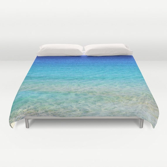 Calm Waters Duvet Cover, Ocean Decorative bedding, unique design, Nautical comforter cover, Aqua Blue, Surf, Water, Ocean Blue, Shades, Dorm