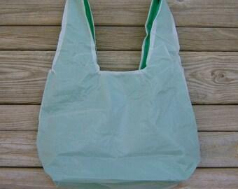 White and Kelly Green Water Resistant Zero Porosity Parachute Market Bag