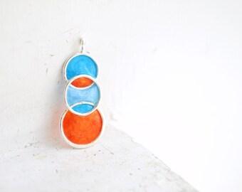 Orange Blue Pendant, Bold Retro Paper Jewelry, Caribbean Ocean Necklace