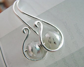White and Silver Earrings, White and Silver Swirl Bead and Silver Earrings