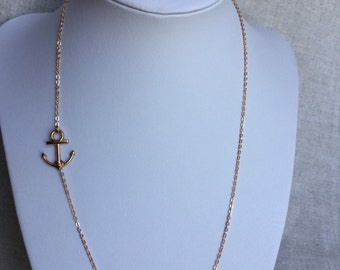 Rose Gold Sideways Anchor Necklace, Rose Gold Jewelry, Anchor Jewelry