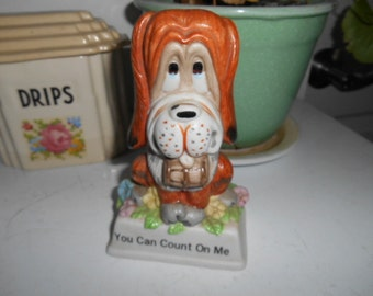 Vintage Droopy Dog Figurine You Can Count On Me Russ Berrie & Co #825 Made in Taiwan (TC-6)