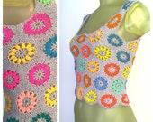 Crochet Crop Top, Vintage 70s Boho Tank Top, Handmade Hippie Top, Crocheted Flowers Cropped Tank Top, Festival Season, Playa Wear S M