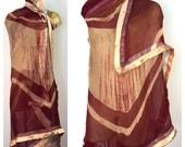 Long Silk Wrap, Bohemian Hand Dyed Shawl, Gold Satin Trim, Maroon Crimson Tie Dye Long Wrap, Sheer India Sari Wrap Champagne Red Sheer Scarf