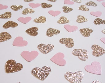 Champagne and Pink Heart Confetti, Wedding Reception Decoration, Table Scatter, Glitter Confetti, Bridal Shower Decor, Light Gold